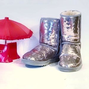 UGG Classic Short Heathered Lilac Sequin Boot Sz 7